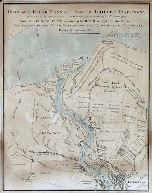Old map of plan of river Ness to the north of the bridge of Inverness